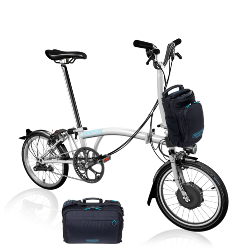 Brompton  Electric Bike EB/M6L  White with Large Front Bag Option